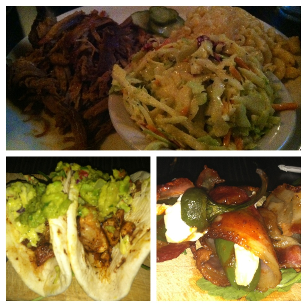 Top: Pulled Pork Entree with Mustard Cole Slaw and Mac & Cheese; Bottom: Gator Tacos and Smokebombs